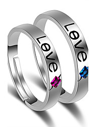 Ring Wedding Party Special Occasion Jewelry Platinum Plated LOVE Couple Rings 1 pair Adjustable Silver