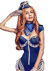 Cosplay Costumes Party Costume Soldier/Warrior Sailor/Navy Pilot Festival/Holiday Halloween Costumes Patchwork Lace Leotard/Onesie Gloves