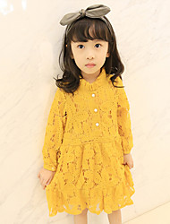 Girl's Cotton Retro Fashion Daily/Go Out Spring/Fall Solid Color Long Sleeve Princess Dress Children One-piece