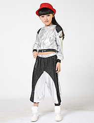 Jazz Outfits Kid's For Boys For Girls Children's Performance Cotton Splicing 2 Pieces Long Sleeve High Coat Pants Gold/Silver  Dance Costume