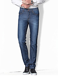Men's Straight Jeans PantsCasual/Daily Simple Solid Mid Rise Button Cotton Polyester Inelastic Spring Summer MG-135