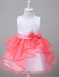 Ball Gown Knee-length Flower Girl Dress - Organza Jewel with Bow(s) Flower(s)