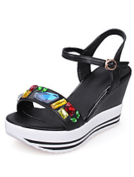 Sandals Spring Summer Fall Club Shoes Cowhide Office & Career Party & Evening Dress Wedge Heel Rhinestone Buckle Black