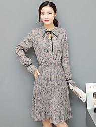 assinar 2017 nova primavera vestido de mangas compridas em um vestido floral e longas seções maré feminino