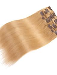 9pcs / set clipe de 120g de luxo em extensões do cabelo morango cabelo humano de 16 polegadas 20 polegadas 100% reta loira para as mulheres