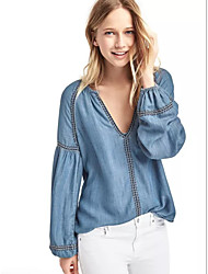 Women's Going out Casual/Daily Simple Street chic Spring Fall Shirt,Solid Embroidered V Neck Long Sleeve Cotton Others Medium