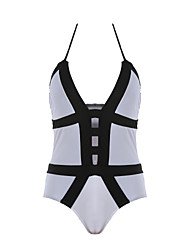 Womens Sexy Color Block Bandage One Piece Swimsuit