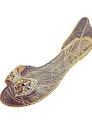Damen Sandalen Komfort PU Frühling Komfort Flacher Absatz Gold Silber Rot Flach
