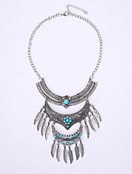 Europe And The United States National Wind Restoring Ancient Ways Necklace Multilayer Leaves Tassel Gemstone Jewelry