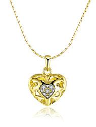 Feminino Colares com Pendentes Colares em Corrente Zircônia cúbica Formato de Coração Zircão Chapeado Dourado 18K ouro Liga Básico