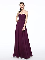 2017 Lanting Bride® Floor-length Chiffon Elegant Bridesmaid Dress - A-line Sweetheart with Sash / Ribbon Pleats