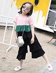 Casual/Daily Patchwork Sets,Cotton Summer Short Sleeve Clothing Set