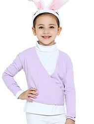 Balé Roupa Crianças Treino Algodão Cruzadas 2 Peças Manga Comprida Natural Casaco Malha Collant 31,36,41,47