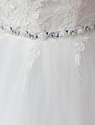 Satin Wedding Party/ Evening Dailywear Sash-Beading Rhinestone Imitation Pearl 98 ½in(250cm) Beading Rhinestone Imitation Pearl