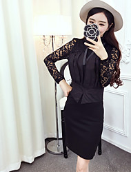 Sign new lace stitching bow long-sleeved shirt + sexy slit skirt package hip piece