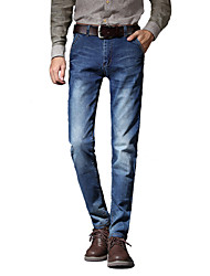 Men's Slim Jeans PantsCasual/Daily Simple Solid Mid Rise Button Cotton Polyester Micro-elastic All Seasons MG-Y611