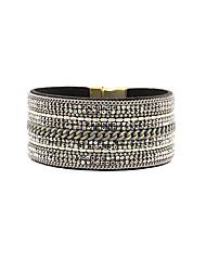 Fashion Women Multi Rows Rhinestone And Chain Set Bracelet