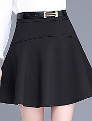 Plus Size A Line Solid Pleated Layered Skirts,Going out Casual/Daily Simple Cute High Rise Above Knee Zipper Polyester Micro-elastic
