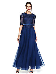 A-Line Scoop Neck Floor Length Chiffon Formal Evening Dress with Appliques