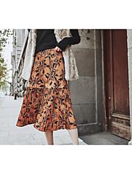 unterzeichnen 2016 Herbst und Winter Herbst neue Retro-Print Kleid in der Taille war dünn Röcke