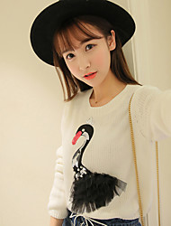 Sign Korean version of the 2017 spring new embroidered sequined swan sweater hedging long-sleeved sweater bottoming female