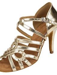Customizable Women's Dance Shoes Sparkling Glitter Salsa Tango Ballroom Dance Shoes Heels Customized Heel Performance Gold