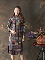 Feminino Reto Bainha Rendas Vestido, Para Noite Casual Simples Moda de Rua Floral Colarinho Chinês Acima do Joelho Manga LongaAzul