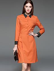 Feminino Bainha Vestido,Casual Formal Trabalho Simples Estampa Colorida Colarinho de Camisa Acima do Joelho Manga Longa Poliéster
