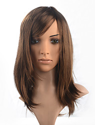 Synthetic Fiber Wig Medium Long Chestnut Brown Women Wig Cosplay Costumme Wig
