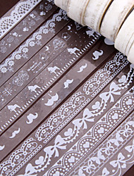 10pcs/set White Lace 1.5cm*10M Mix Various 10 Style Pattern DIY Self-adhesive Glitter Washi Paper Tape Sticker Wedding Birthday Festival Decoration