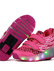 Kids Gril's Boys Athletic Shoes Spring Summer Fall Light Up Shoes Roller Skate Sport Outdoor Athletic Casual Low Heel LED Hook & Loop Blue Pink White