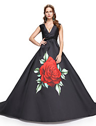 Formal Evening Dress - Elegant A-line V-neck Sweep / Brush Train Satin with Sash / Ribbon Pleats