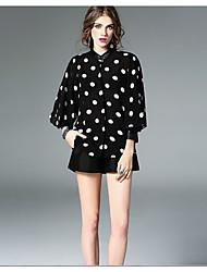 Women's Casual/Daily Simple Shirt,Polka Dot Round Neck Long Sleeve Black Silk