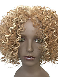 Capless Wig Short Hairstyle Kinky Curly Synthetic Fiber Heat Resistant Wig Blonde Wig
