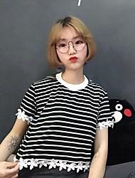 tiro real de verão 2017 novo temperamento coreano flor do gancho selvagem guarnição do laço curto listrado t-shirt feminina