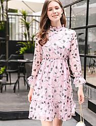 Mujer Línea A Vestido Noche Vacaciones Bonito,Floral Escote Chino Sobre la rodilla Manga Larga Poliéster Primavera Verano Tiro Alto
