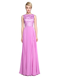 A-Line Bateau Neck Floor Length Chiffon Lace Bridesmaid Dress with Pleats by LAN TING BRIDE®