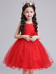 Ball Gown Knee-length Flower Girl Dress - Cotton Lace Tulle Sleeveless Jewel with Flower(s) Pearl Detailing Sash / Ribbon
