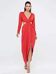 Women's Going out / Casual/Daily Solid Sexy Ruched Split Cut Out Sexy Sheath DressSolid Deep V Maxi Long Sleeve Spring / Fall Mid Rise