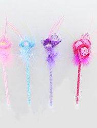 Optical Fiber/Plastic/Feather Handmade Rose Craft BallPoint Pen For Valentine's Day Festive Gift