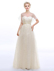 A-Fu Sheath / Column Wedding Dress Sparkle & Shine Sweep / Brush Train Square Tulle with Sash / Ribbon Sequin