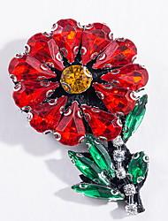 Femme Broche Alliage Basique Mode Forme de Fleur Rouge Bijoux Quotidien