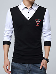 Men's Plus Size Formal Work Cute Street chic Spring Fall Shirt,Solid Button Down Collar Long Sleeve Blue Red White Black Gray Cotton
