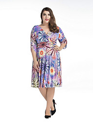 Women's Plus Size Vintage Swing Dress,Floral V Neck Knee-length ½ Length Sleeve Polyester Purple Spring Mid Rise Micro-elastic