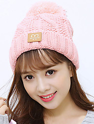 Women Winter Wool Knit Hat Leisure Solid Color Hair Ball Decoration Warm Plus Cashmere Cap