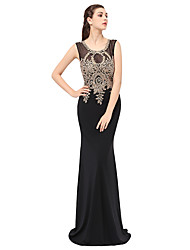 Formal Evening Dress Trumpet / Mermaid Jewel Floor-length Lace with Appliques