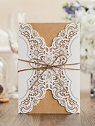 50pcs Hollow Laser Cut Wedding Invitations Card Personalized Custom with Ribbon Free Envelope & Seals Wedding Party Supplies