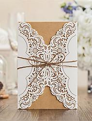 Doppelfensterfalz Hochzeits-Einladungen Einladungskarten-50 Stück / Set Vintage Stil Kartonpapier Bänder