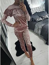 европы ALIexpress Ebay амазонка взрыв моделей высокого качества кладки листьев лотос воротник бархат спортивного костюм женщины