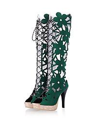 botas de Primavera-Verão sapatos clube queda gladiador partido conforto velo&vestido de noite stiletto ocasional flor calcanhar